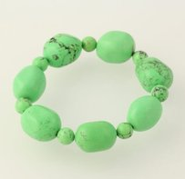 Other Chunky Beaded Bracelet - Dyed Green Howlite Stone Beads Stretch Band