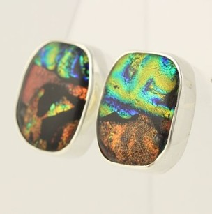 Other Chunky Colorful Dichroic Glass Earrings - Sterling Silver Aurora Art 925 Pierced