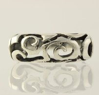 Chunky Open Scroll Work Ring - Sterling Silver 925 Band Womens