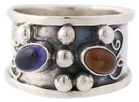 Chunky Ornate Amber Iolite Ring - Sterling Silver 8.25-8.5 Band Womens