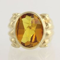 Citrine Cocktail Ring - 14k Yellow Gold Oval Genuine Gemstone Yellow 8.24ctw