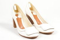 Chloe Leather Stacked Cream Pumps