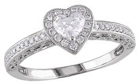 14k White Gold 12 Ct Heart Love And Round Diamonds Heart Journey Ring Gh I1i2