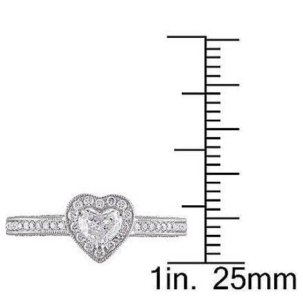 Other 14k White Gold 12 Ct Heart Love And Round Diamonds Heart Journey Ring Gh I1i2