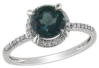 Other 10k White Gold Diamond And 1 35 Ct Tgw Blue Topaz London Fashion Ring Gh I1i2