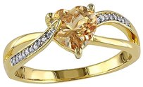 Yellow Sterling Silver Diamond And 1 Ct Yellow Beryl Heart Swivel Ring I2i3