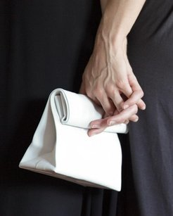Adaism Leather Paper White Clutch