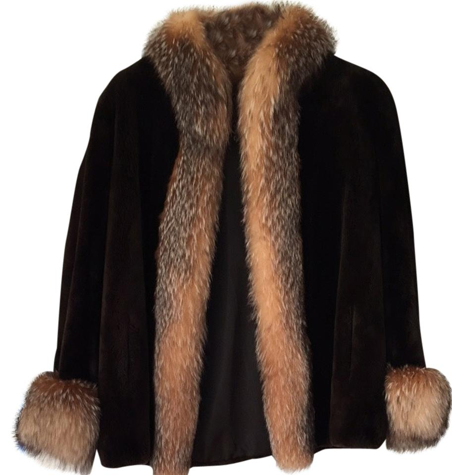 Fur coat with fox trim