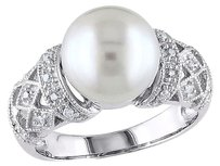 Sterling Silver 110 Ct Diamond 9-9.5 Mm White Freshwater Pearl Fashion Ring