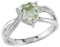 Sterling Silver 1.131 Ct Tw Diamond Green Amethyst Swivel Crossover Heart Ring