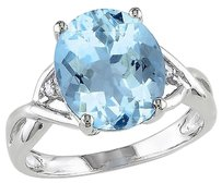 Other Sterling Silver 5.51 Ct Tw Diamond And Blue Topaz Sky Crossover Fashion Ring I3