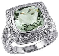 Other Sterling Silver 14 Ct Diamond Tw And 4 Ct Tgw Green Amethyst Fashion Ring Gh I3