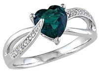 Other Sterling Silver 1.051 Ct Tw Diamond And Emerald Swivel Crossover Heart Love Ring