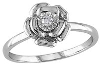 Sterling Silver Diamond Flower Rosediamond Accent Ring Gh I1i2