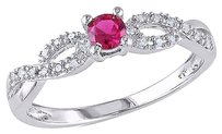 0.28 Ct Tw Diamond And Ruby Crossover Fashion Ring In Sterling Silver Gh I2i3