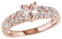 Pink Silver 0.56 Ct Tw Diamond And Morganite Heart Love Stone Ring Gh I2i3