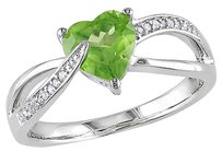Sterling Silver 1.4 Ct Tw Diamond And Peridot Swivel Crossover Heart Love Ring