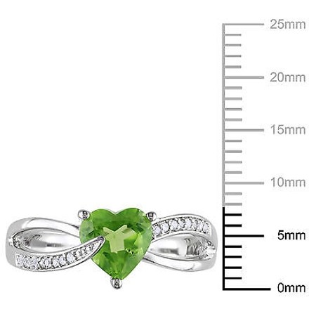 Other Sterling Silver 1.4 Ct Tw Diamond And Peridot Swivel Crossover Heart Love Ring
