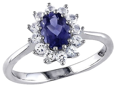 Other 1 14 Ct Tgw Iolite White Sapphire Cluster Fashion Ring In Sterling Silver