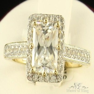 Baguette Cut Solitaire Ring Bridal 14k Gold Finish Cubic Zirconia 925 Silver
