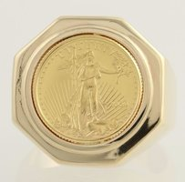 22k Coin Ring - 14k Yellow Gold Band 110 Oz Eagle Liberty Heavy
