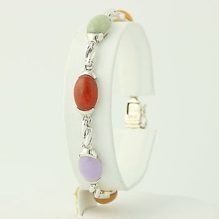 Colorful Jadeite Tennis Bracelet - Sterling Silver Dyed Stones 7.25 Womens