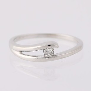 Contemporary Diamond Solitaire Ring- 10k White Gold 34 - Genuine .07ctw