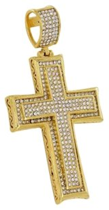 Cross Pendant Yellow Gold Finish Simulated Diamonds Stainless Steel Charm Piece