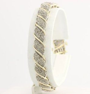 Other Curved Diamond Bracelet 7 - 10k Yellow Gold Natural Womens Link 3.00ctw