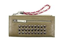 Custo Barcellona Studded Brown Leather Wristlet Womens Wallet