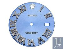 Custom Pave Set Diamond Blue Dial For Rolex Datejust 36mm Watch 0.75 Ct