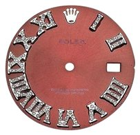 Other Custom Pave Set Diamond Red Dial For Rolex Datejust 36mm Watch 0.75 Ct