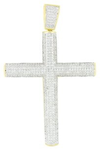 Cylinder Cross 14k Gold Finish Pendant Simulated Diamonds Micro Pave Iced Out