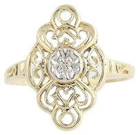 Other Diamond-accented Ring - 10k Yellow White Gold Open Cut Womens .02ctw