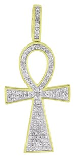 Other Diamond Ankh Cross Pendant 10k Yellow Gold Micro Pave Symbol Of Life Vintage