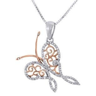 Diamond Butterfly Necklace 10k White Gold Charm 0.22 Ctw. Pendant W Chain