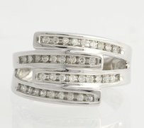 Other Diamond Bypass Cocktail Band Ring- 10k White Gold Modern Polished Genuine .25ctw