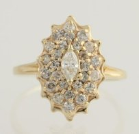 Diamond Cluster Cocktail Ring - 14k Yellow Gold Womens 14 Genuine .75ctw