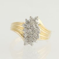Other Diamond Cluster Cocktail Ring - 14k Yellow White Gold Bypass Genuine .50ctw
