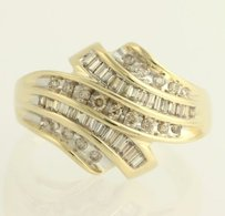 Diamond Cocktail Bypass Ring - 10k Yellow White Gold 14 Genuine .33ctw