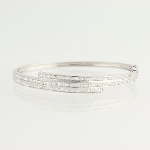 Diamond Encrusted Bangle Bracelet - 18k White Gold Solid Bypass Band Hinged 2ctw