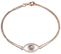 Diamond Evil Eye Bracelet 14k Rose Gold Double Rolo Link 0.24 Ct. 7