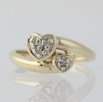 Other Diamond Heart Bypass Ring - 10k Yellow White Gold Love Genuine .04ctw