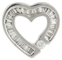 Diamond Heart Pendant - 14k White Gold Polished Love Gift Genuine .75ctw