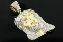 Diamond Jesus Face Piece Pendant Sterling Silver Yellow Finish Charm 0.76 Ctw.
