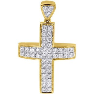 Diamond Mini Domed Cross Pendant 10k Yellow Gold Solid Side Wall Charm 1.03 Ct.