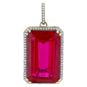 Diamond Pendant Ladies 10k Yellow Gold Created Ruby Designer Charm 0.20 Tcw.