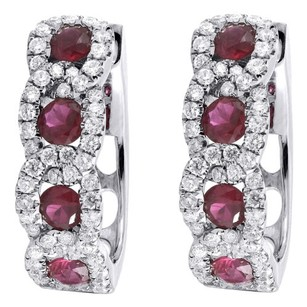 Diamond Red Ruby Earrings Ladies 14k White Gold Round Fashion Hoops 1.63 Tcw.