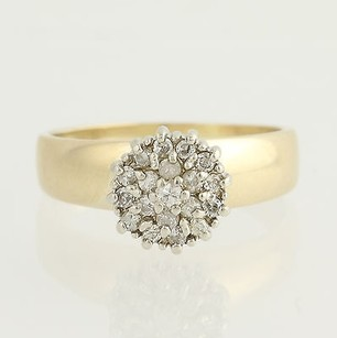 Diamond Ring - 14k Yellow White Gold Cluster Womens .25ctw