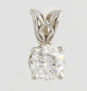 Diamond Solitaire Pendant - 14k White Gold Round Natural Womens .43ct